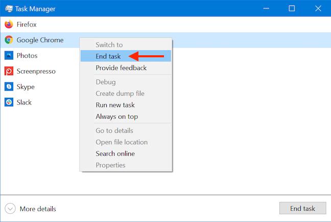 使用Windows 10任务管理器关闭应用