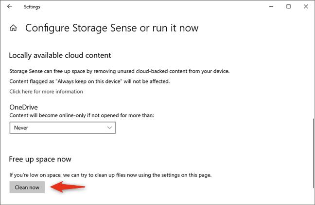 使用Storage Sense设置Windows 10以自动清理不需要的文件