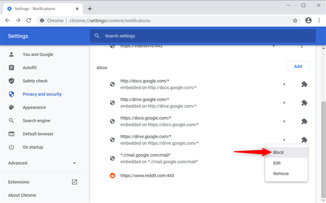 Turn off Chrome notifications from the browser's settings