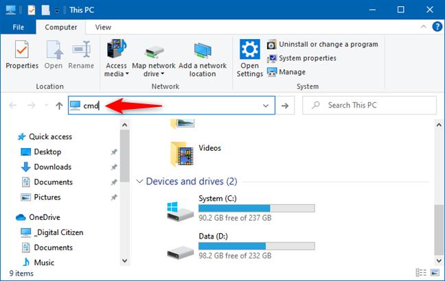 在文件资源管理器的地址栏中键入要运行的命令