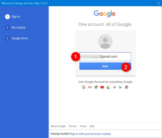 输入您的Google帐户电子邮件地址