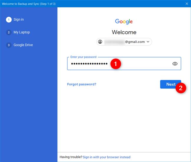 输入您的Google帐户的密码