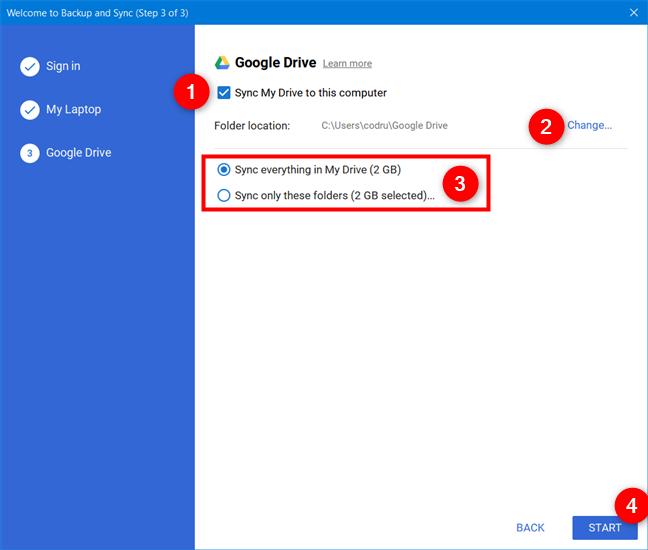 选择将Google云端硬盘同步到您的计算机