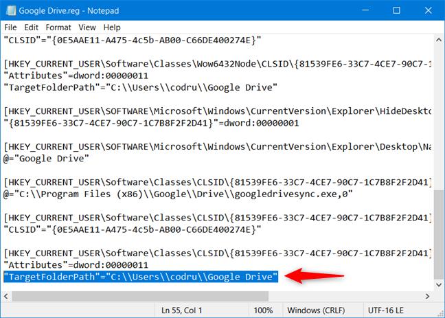 将TargetFolderPath值替换为Google云端硬盘文件夹的路径