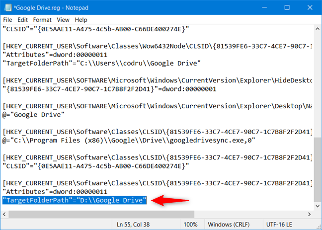 将TargetFolderPath值替换为自定义Google云端硬盘文件夹位置的路径