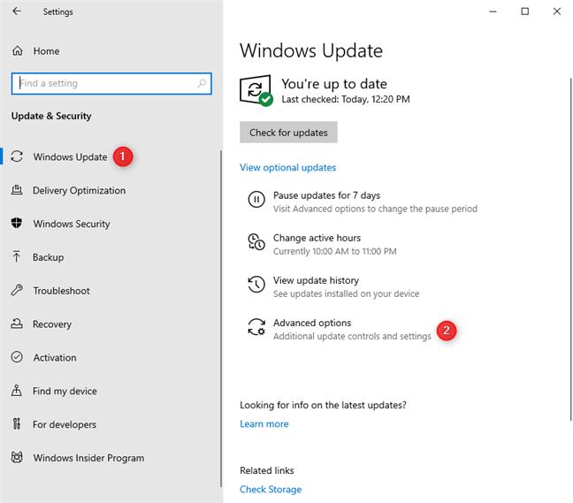 """单击或点击Windows Update设置中的""""高级""""选项"""