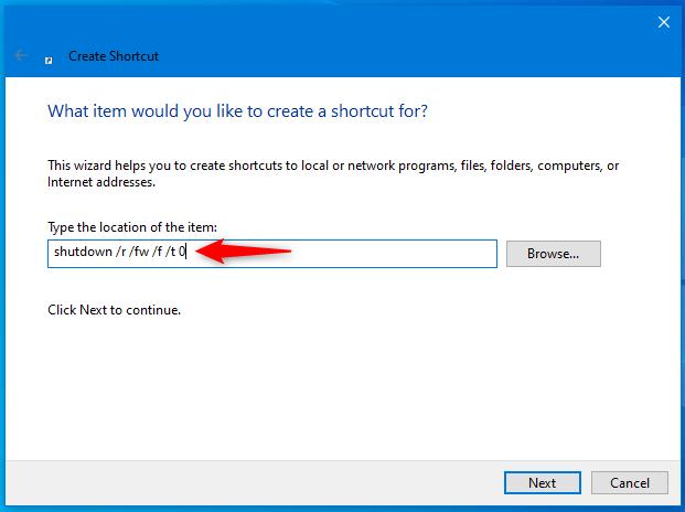 如何创建 UEFI BIOS 的快捷方式