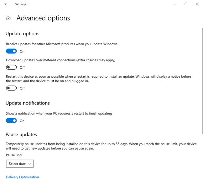 Windows 2020年5月10日更新中Windows更新的高级选项