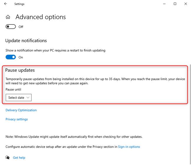 """Windows Update的""""暂停更新""""部分"""