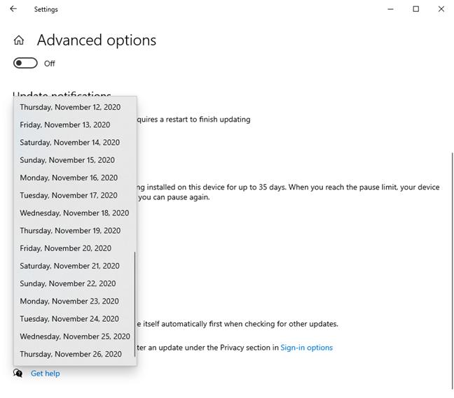 选择日期,直到Windows 10更新延迟