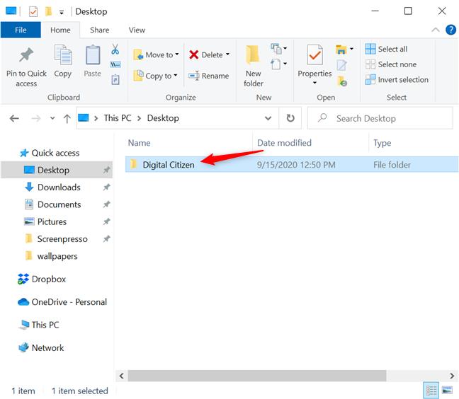 选择您要固定的文件夹