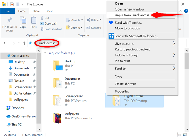 从快速访问中取消固定文件夹
