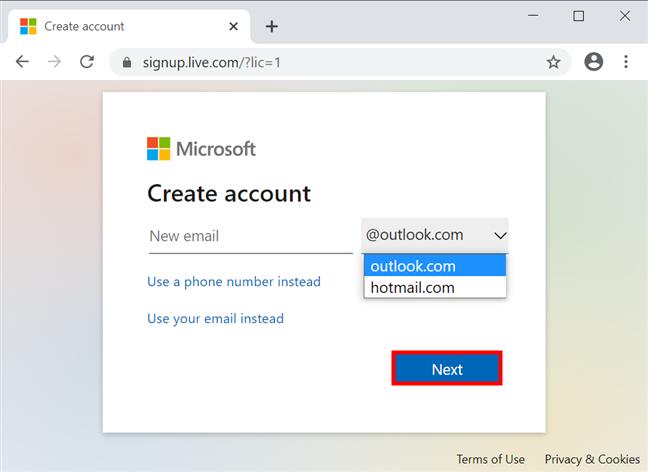 选择一个电子邮件地址