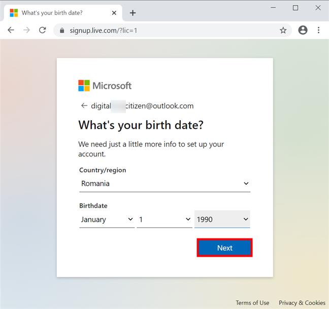 添加您的国家和出生日期,然后按下一步