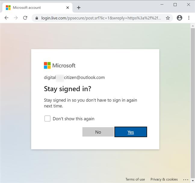 您的浏览器可以保持您的登录状态