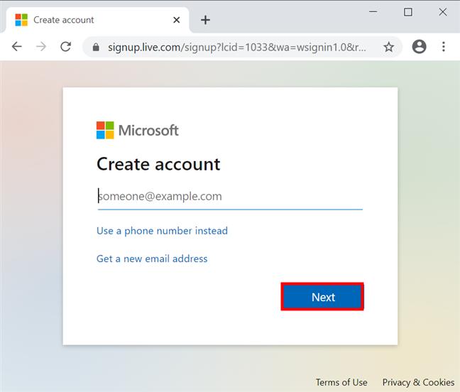 输入您的主要电子邮件地址以开始创建Microsoft帐户