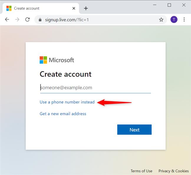 使用电话号码创建不带电子邮件的Microsoft帐户