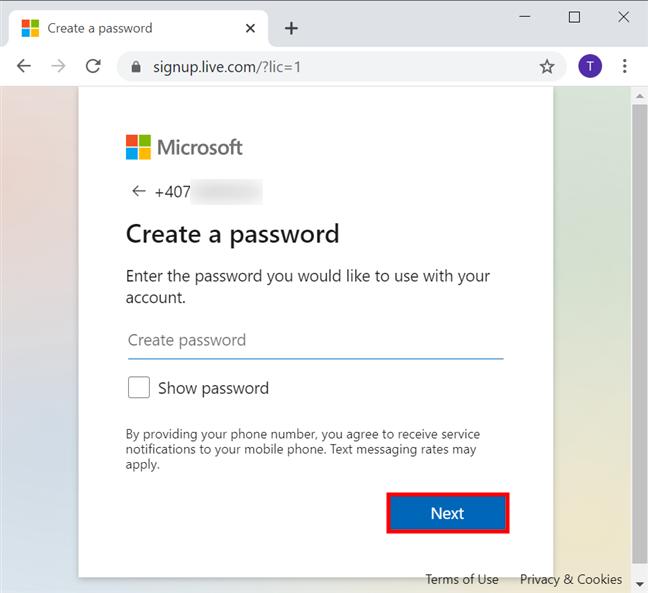 为您的Microsoft帐户创建密码