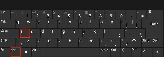 同时按下键盘上的Ctrl和A