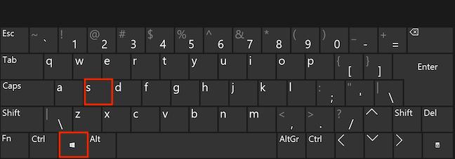 """同时按下键盘上的Windows和S键以打开""""搜索"""""""