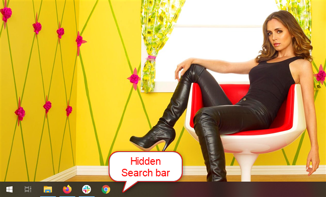隐藏了搜索栏的任务栏