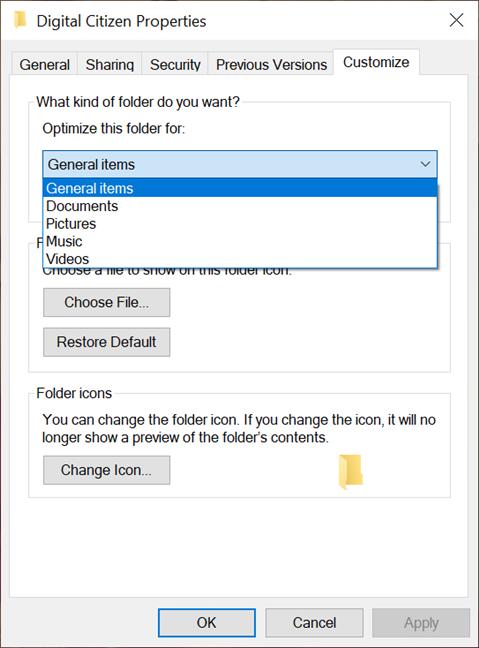 选择文件夹的视图模板