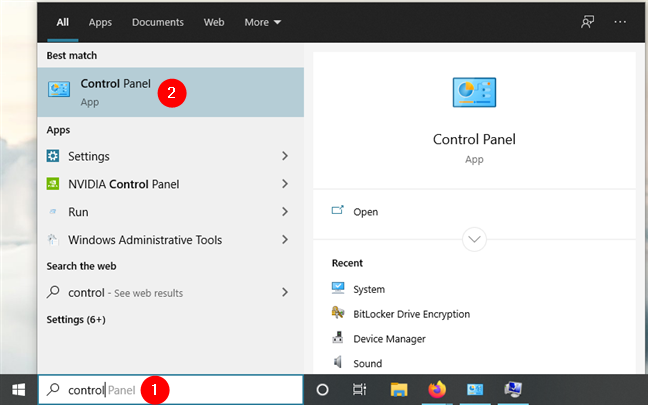 在Windows 10中搜索控制面板