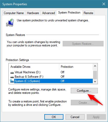 在Windows 10中启用系统还原的2种方法