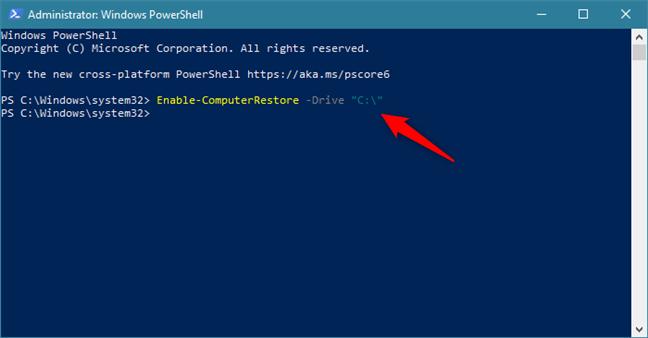 使用PowerShell中的命令在C:驱动器上启用系统还原