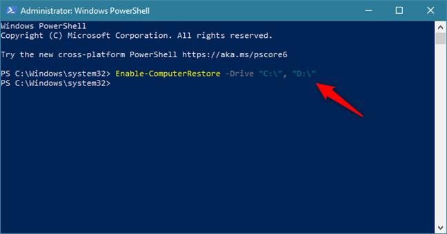 使用PowerShell中的命令在C:和D:驱动器上启用系统还原