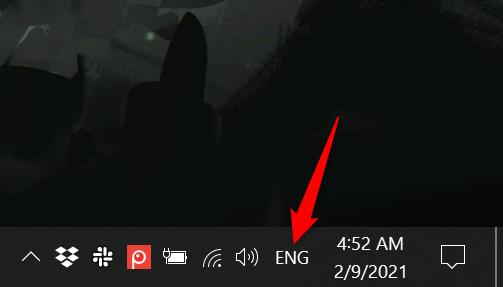 按下新的缩写语言图标以显示Windows 10中的语言栏